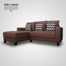 Sofa Tamu L Minimalis Premium Aster Semikulit Brown