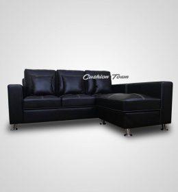 Sofa Tamu L Minimalis Premium Aster Semikulit Black