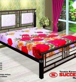 Ranjang Besi Minimalis Success Mahoni 160 x 200 cm Tanpa Kasur
