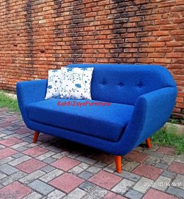 Sofa Tamu Retro Scandinavian Crysant 2 Seater Vienna Blue Best Seller